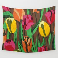 tulips Wall Tapestries featuring Tulips  by Marjolein