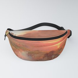Ecuadorian Andes at Sunset, Cotopaxi volcano plains landscape painting by Frederic Edwin Church Fanny Pack