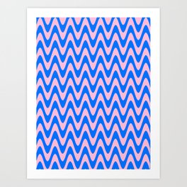 Cotton Candy Pink and Brandeis Blue Horizontal Waves Art Print