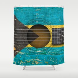Old Vintage Acoustic Guitar with Bahamas Flag Shower Curtain