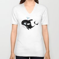 killer whale V-neck T-shirts featuring Killer Whale & Fish by markmurphycreative