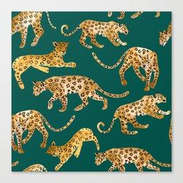 Jaguars in Jade Canvas Print