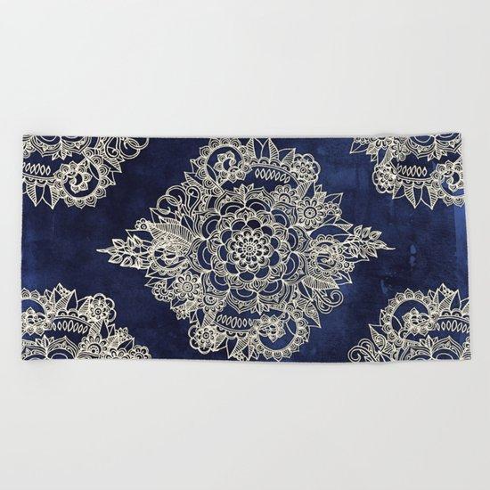 Cream Floral Moroccan Pattern on Deep Indigo Ink Beach Towel