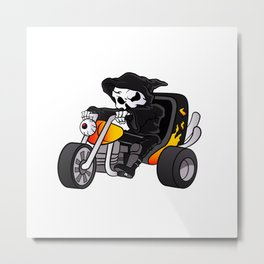 skull ride a big tricycle Metal Print
