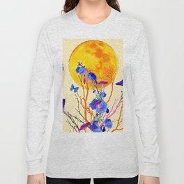 BLUE BUTTERFLIES MORNING GLORY  FULL MOON ART Long Sleeve T-shirt