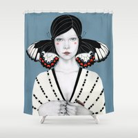 butterfly Shower Curtains featuring Mila by Sofia Bonati