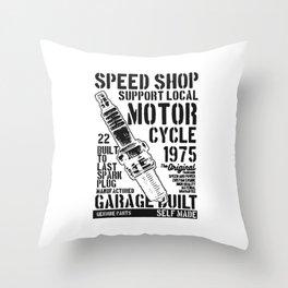 speed shop motorcycle garage Throw Pillow