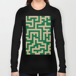 Tan Brown and Cadmium Green Labyrinth Long Sleeve T-shirt
