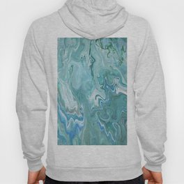North Shore Swirls - Marble Fluid Abstract Blue Turquoise Art Hoody