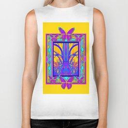 Golden Southwest Art Butterfly Foliage Abstract design Biker Tank