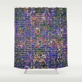 Blue Brick Grunge Wall Shower Curtain