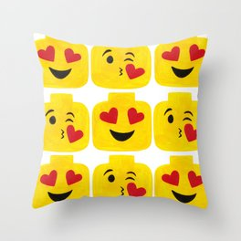 Hearts Minifigure Emoji Throw Pillow