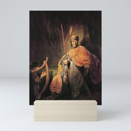 Rembrandt - David playing the harp before Saul Mini Art Print