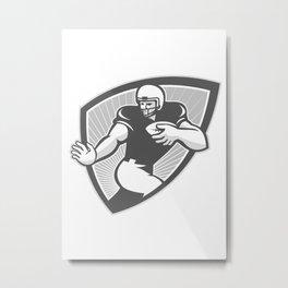 American Football Running Back Shield Grayscale Metal Print