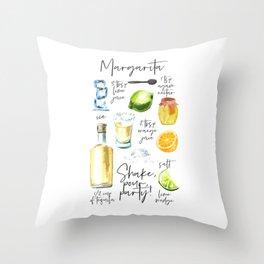 Margarita Recipe Watercolor Illustration Throw Pillow