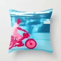 motorbike Throw Pillows featuring Motorbike Guy by Sergio Silva Santos