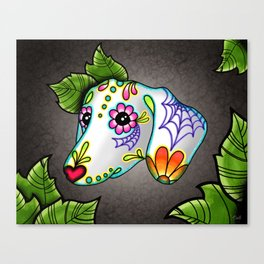 Dachshund - Day of the Dead Sugar Skull Wiener Dog Canvas Print