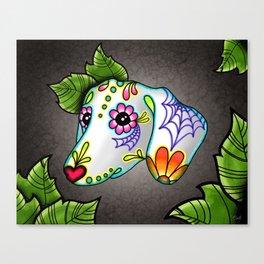Dachshund - Day of the Dead Sugar Skull Wiener Dog Canvas Print