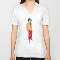 hat V-neck T-shirts featuring Hat by Alvaro Tapia Hidalgo