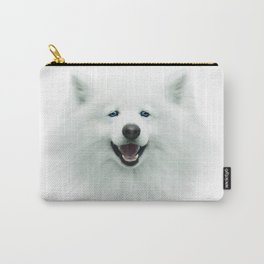 White dog, puppy, 3d, big face, kids Carry-All Pouch