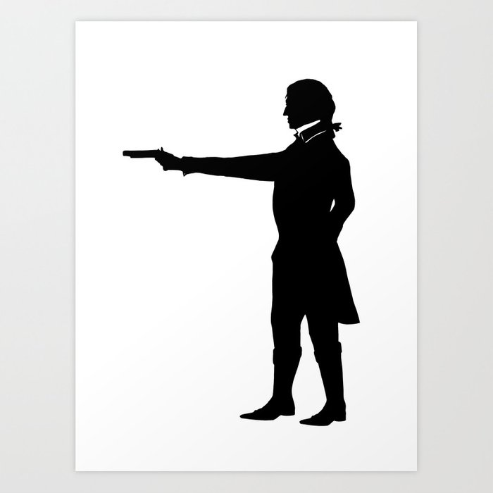 The duel gentleman silhouette print black and white victorian steampunk gun art print