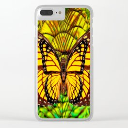 FANTASY YELLOW MONARCH BUTTERFLY LIME COLOR Clear iPhone Case