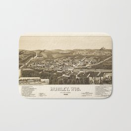 Aerial View of Hurley, Wisconsin (1886) Bath Mat