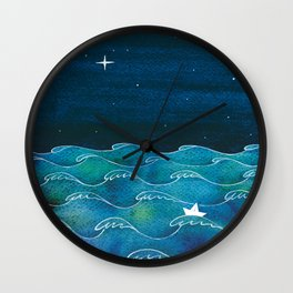 Night big ocean waves Wall Clock