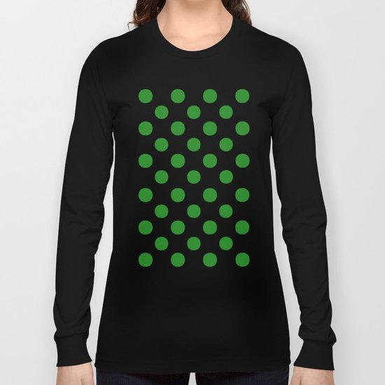 Polka Dots (Forest Green/White) Long Sleeve T-shirt