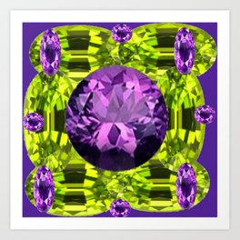 AMETHYST PURPLE  LIME GREEN PERIDOT GEMS BIRTHSTONES Art Print