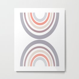 Modern Double Rainbow Hourglass in Muted Earth Tones Metal Print