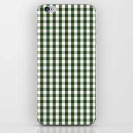 Dark Forest Green and White Gingham Check iPhone Skin