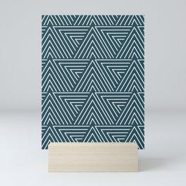 Teal blue mudcloth pattern Mini Art Print