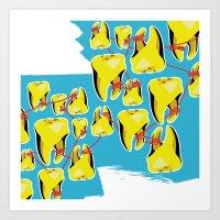 Gold Teeth on a String Art Print