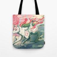 okami Tote Bags featuring Okami Amaterasu by Owlapin