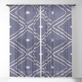 Navajo Pattern - Tan / White / Navy Sheer Curtain