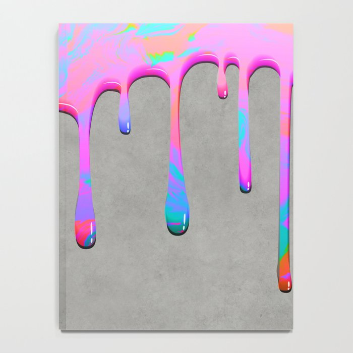 Pink Dripping Paint on Grey Notebook