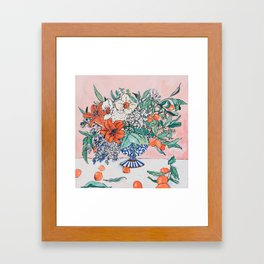 California Summer Bouquet - Oranges and Lily Blossoms in Blue and White Urn Framed Art Print