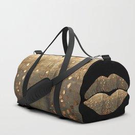 Golden Motes Kissing Lips Duffle Bag