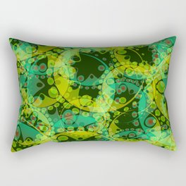 Spring pastels gently pearl and lemon circles and green ellipses with the image of abstract flowers Rectangular Pillow