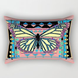 Coral-Pink-Blue, Black-Yellow  Butterfly in American Southwest Art Style Rectangular Pillow