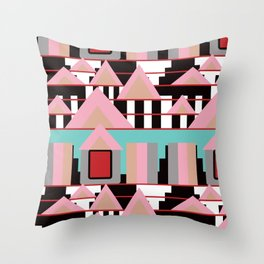 Postmodern City Skyline Throw Pillow