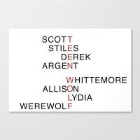 teen wolf Canvas Prints featuring Teen Wolf  by Dan Lebrun