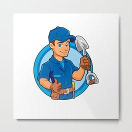 Cartoon plumber holding a big shovel. Metal Print