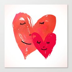 Watercolor couple of hearts Canvas Print