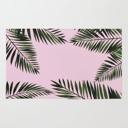 Watercolor tropical palm leaves pink Rug