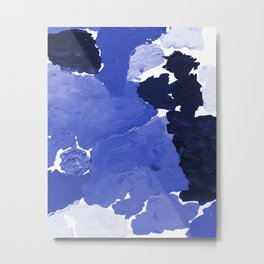 Kenni - abstract paint palette blue white navy bright modern gender neutral painting brushstrokes  Metal Print