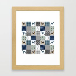 Airedale Terrier Cheater Quilt -  patchwork, airedale, dog, blanket, cute design Framed Art Print