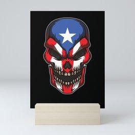 Puerto Rico Skull   Proud Boricua Flag Mini Art Print