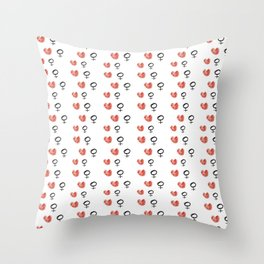 symbol of woman with a heart 5 Throw Pillow